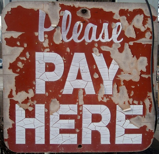please pay here sign